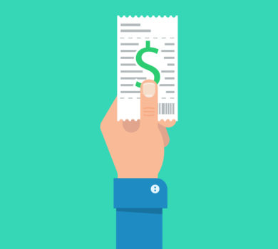 Bill to pay vector illustration. Bill payment design in flat style. Hand holding bill. Paying bills concept. Payment of utility, bank, restaurant and other bills. Giving or receiving bill.